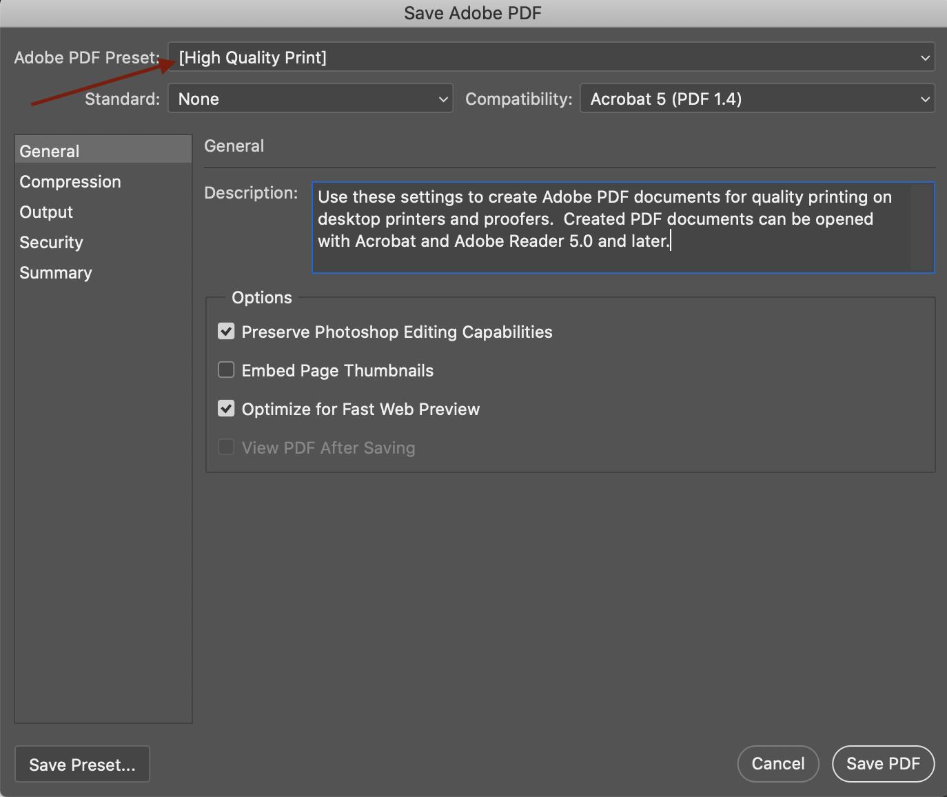 Screenshot of saving a file as a Adobe PDF Preset. Choose High Quality Print