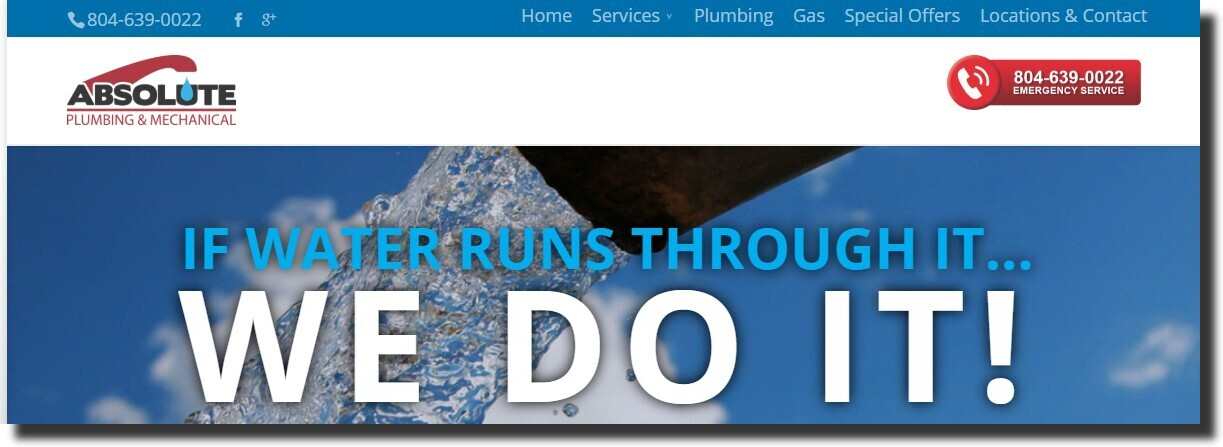 Absolute Plumbing website design