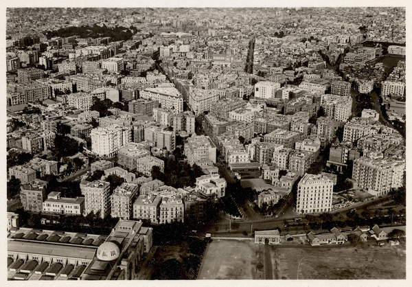 Image of An aerial view of New Cairo in 1931, from 'Zeppelin-Weltfahrten' (silver bromide print), German School, (20th century) / German, Private Collection, © Bridgeman Images