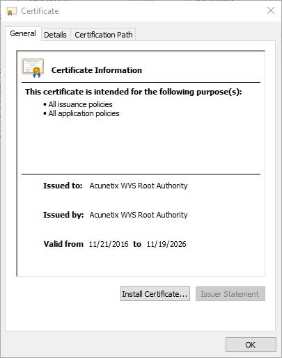 Acunetix root certificate