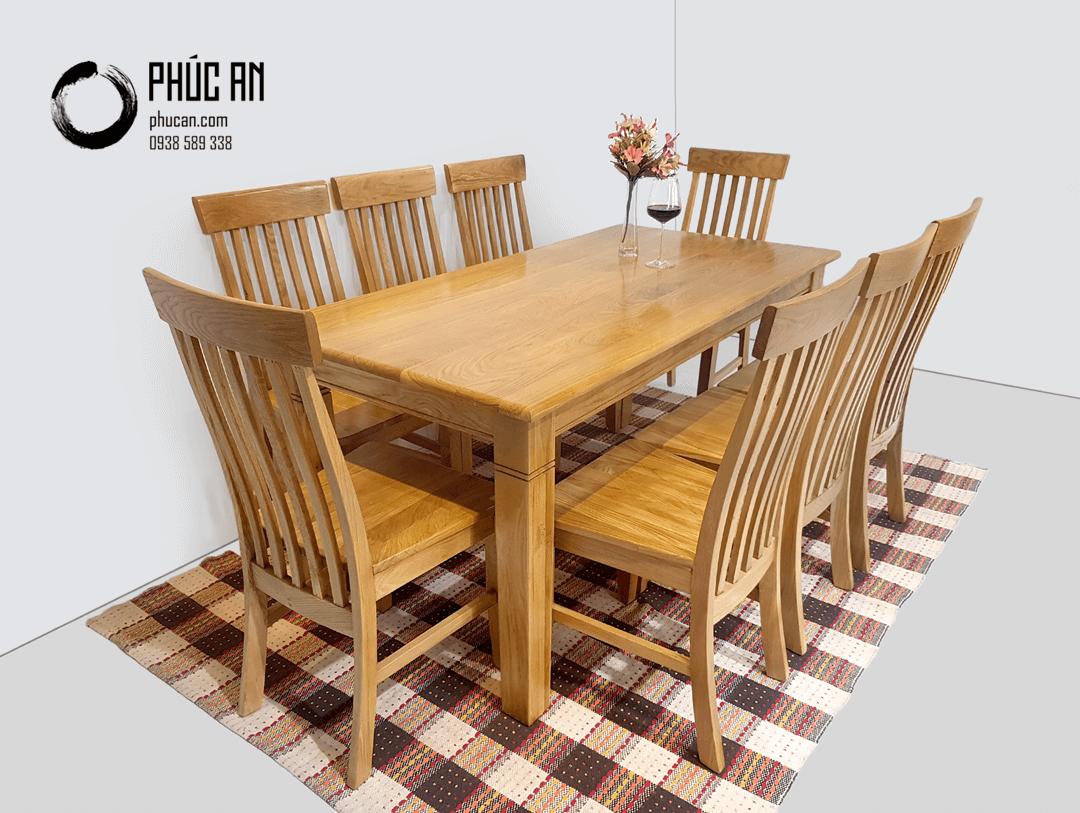Bộ bàn ăn gỗ Sồi Mỹ 8 ghế màu tự nhiên 1m8