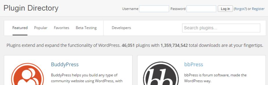 Ảnh chụp màn hình của thư mục plugin WordPress.