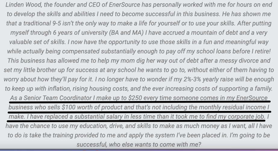 Testimonial found on EnerSource's website from a Senior Team