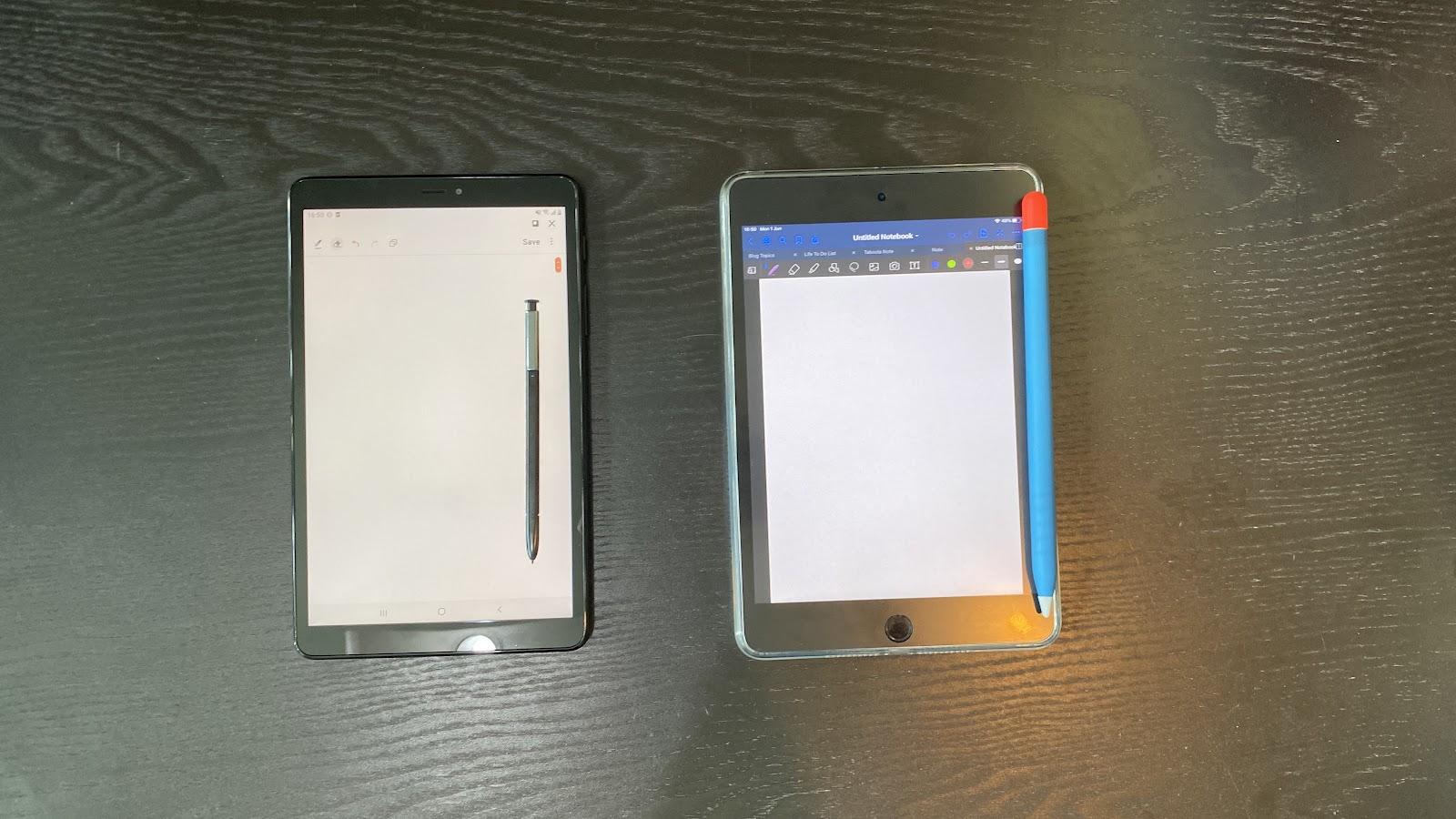 Galaxy Tab A with S Pen 8.0とiPad Miniを比べました。
