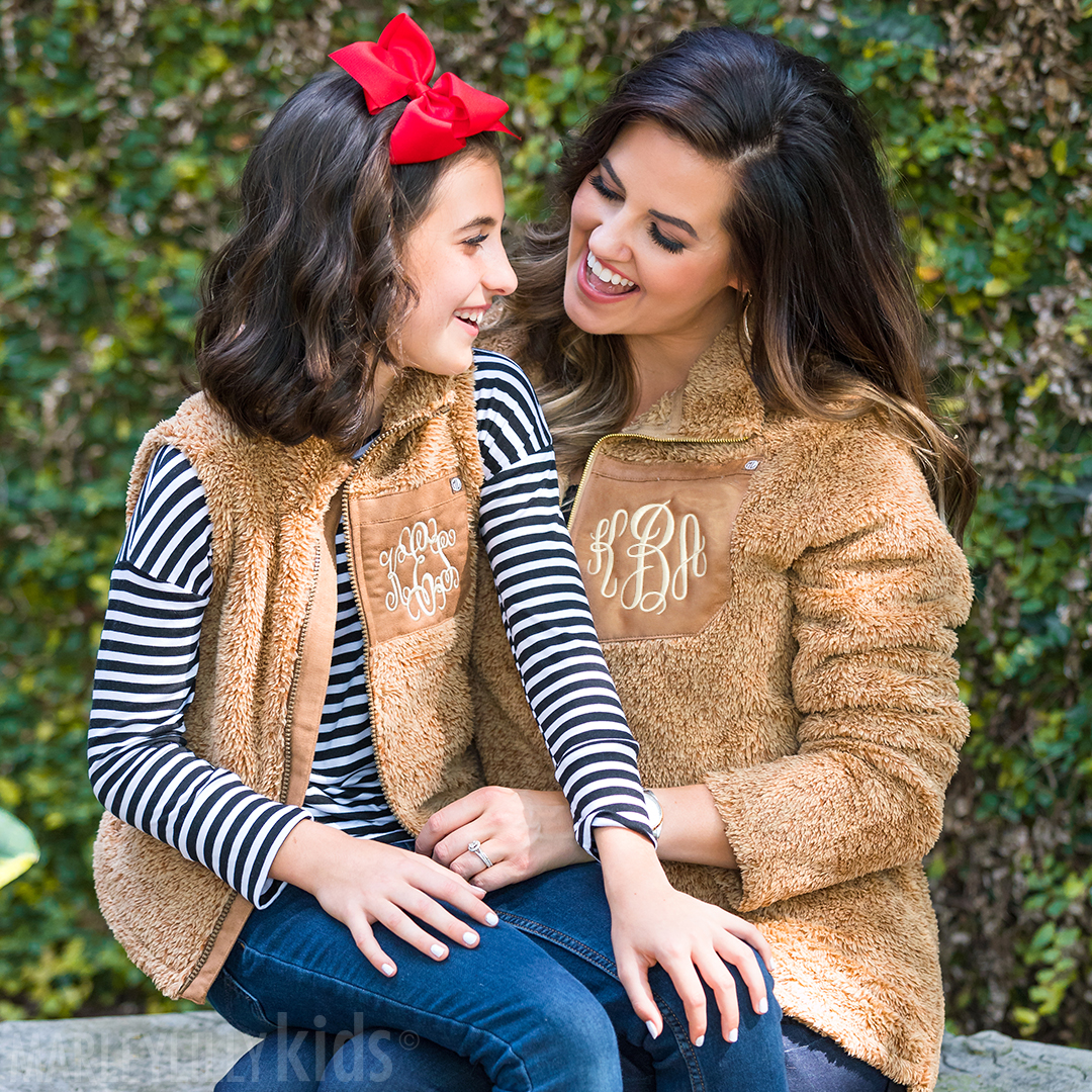 matching monogrammed sherpa pullover tunics camel