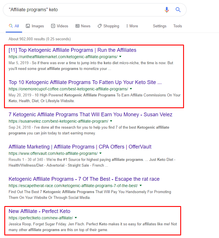 Google Search/ How to find an affiliate program