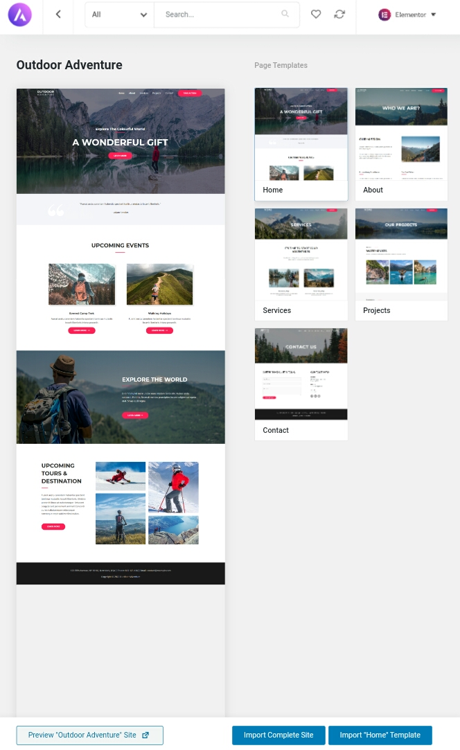 Astra theme template for a site