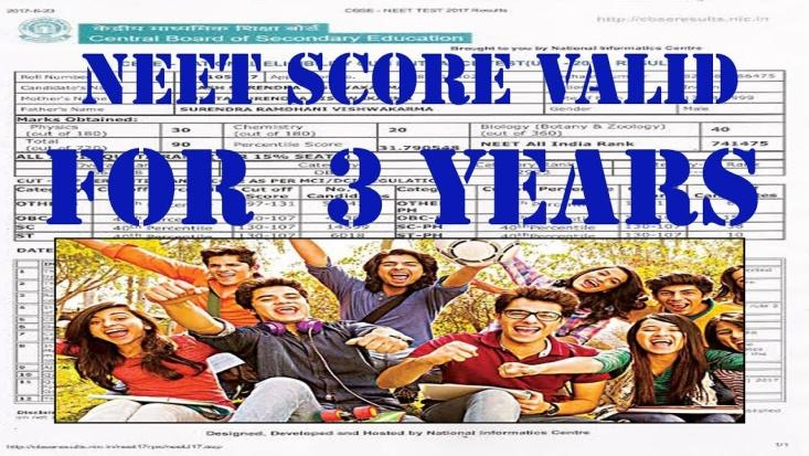 Image result for NEET score valid for three years