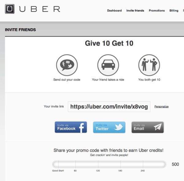 uber give and get referral incentive