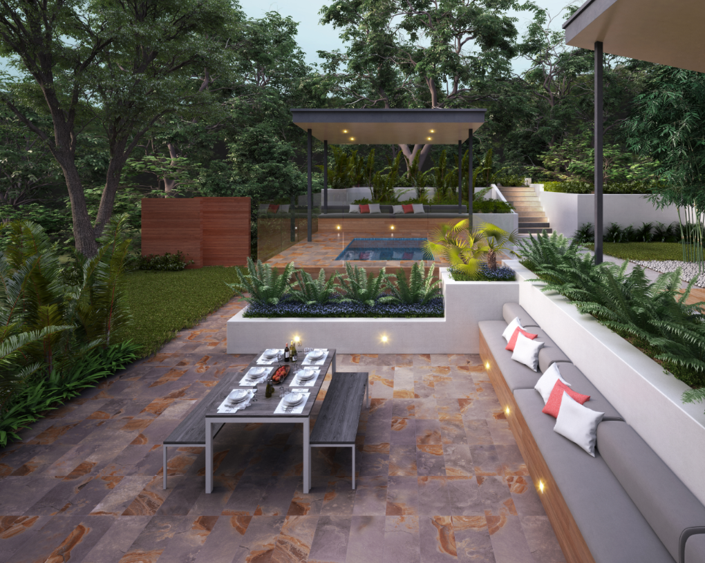 Slate-look tile flooring in an outdoor dining area