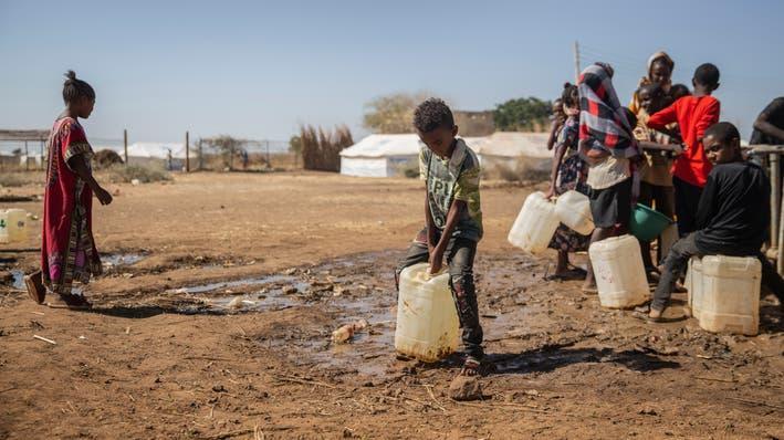 Dreckiges Wasser, kaum zu Essen im Lager Um Rakuba: 60'000 Menschen sind laut dem UNO-Flüchtlingshilfswerk bereits aus Tigray nach Sudan geflohen.