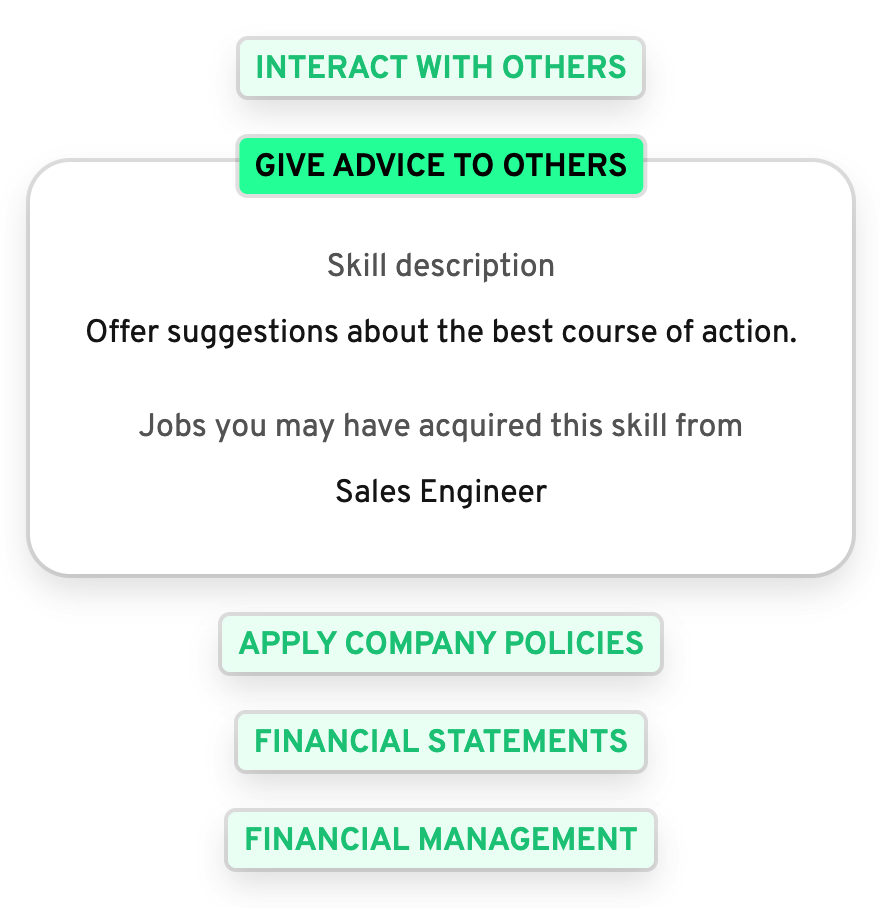 Transferable skills feature