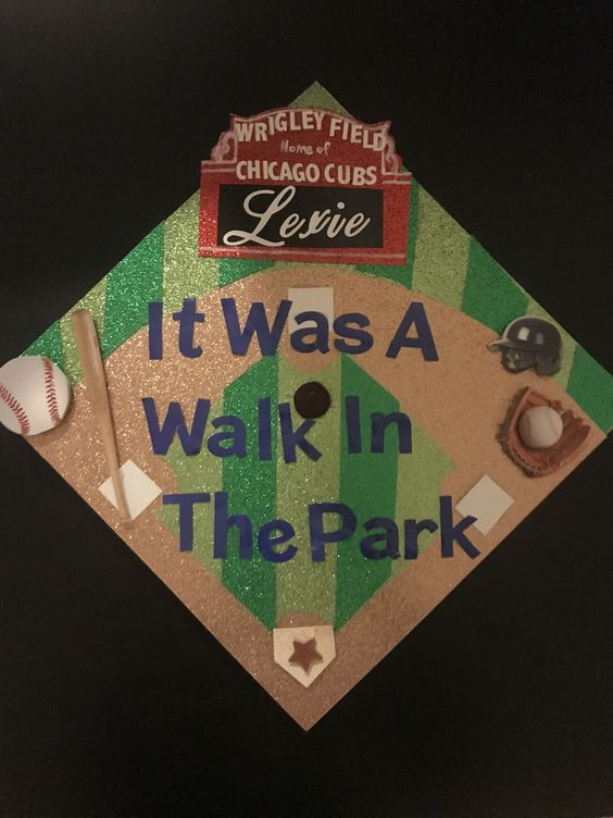 """A graduation cap that reads """"It was a walk in in the park."""""""