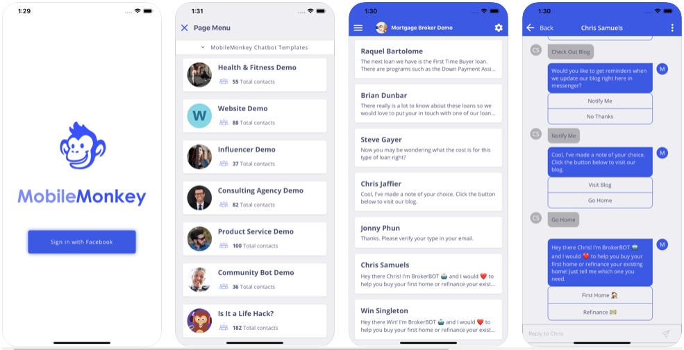 The MobileMonkey app