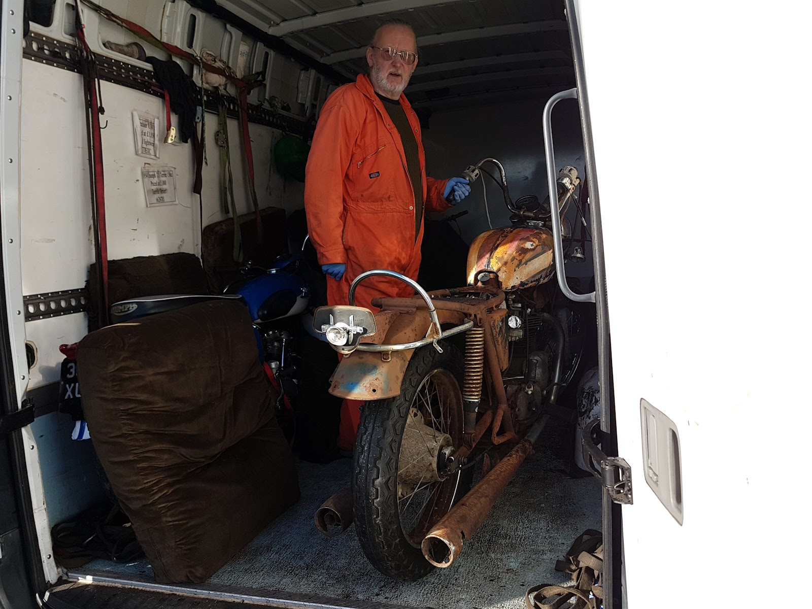 My new Bonneville arriving at home in the back of a van.