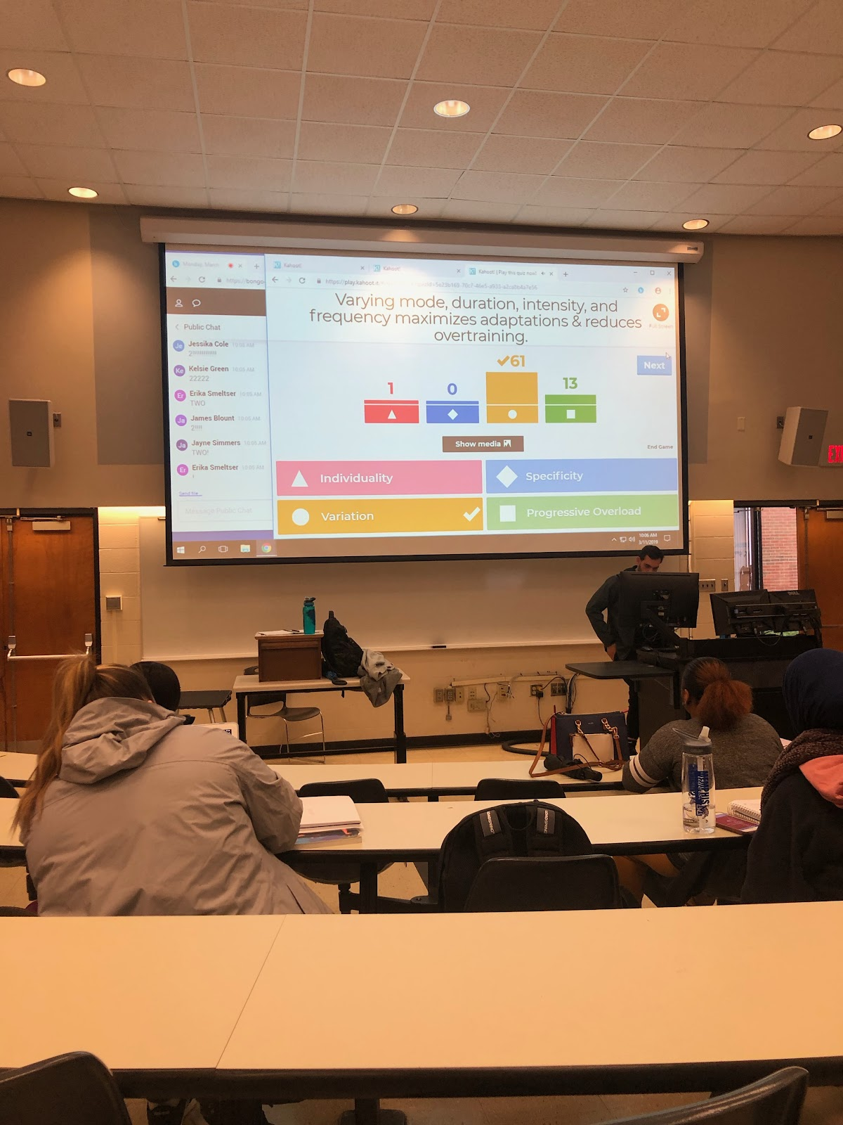 This is an image of the feedback provided by Kahoot! immediately after a question is answered by the class.