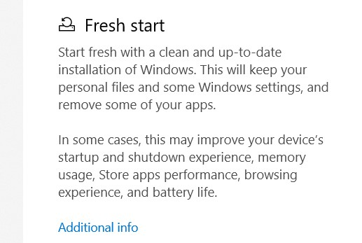 In the Fresh Start category, select the Additional Information option.