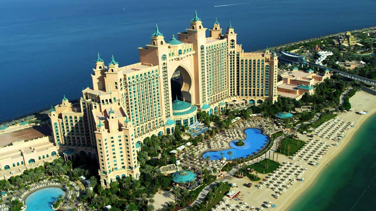 Aerial view palm Atlantis Dubai - YouTube