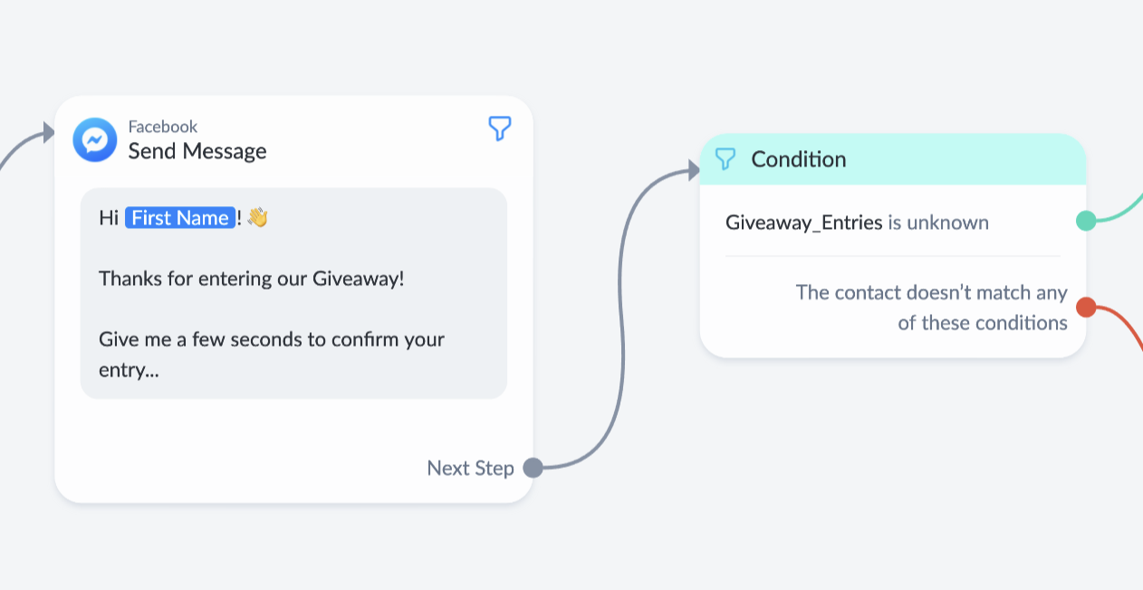 message and condition step set up