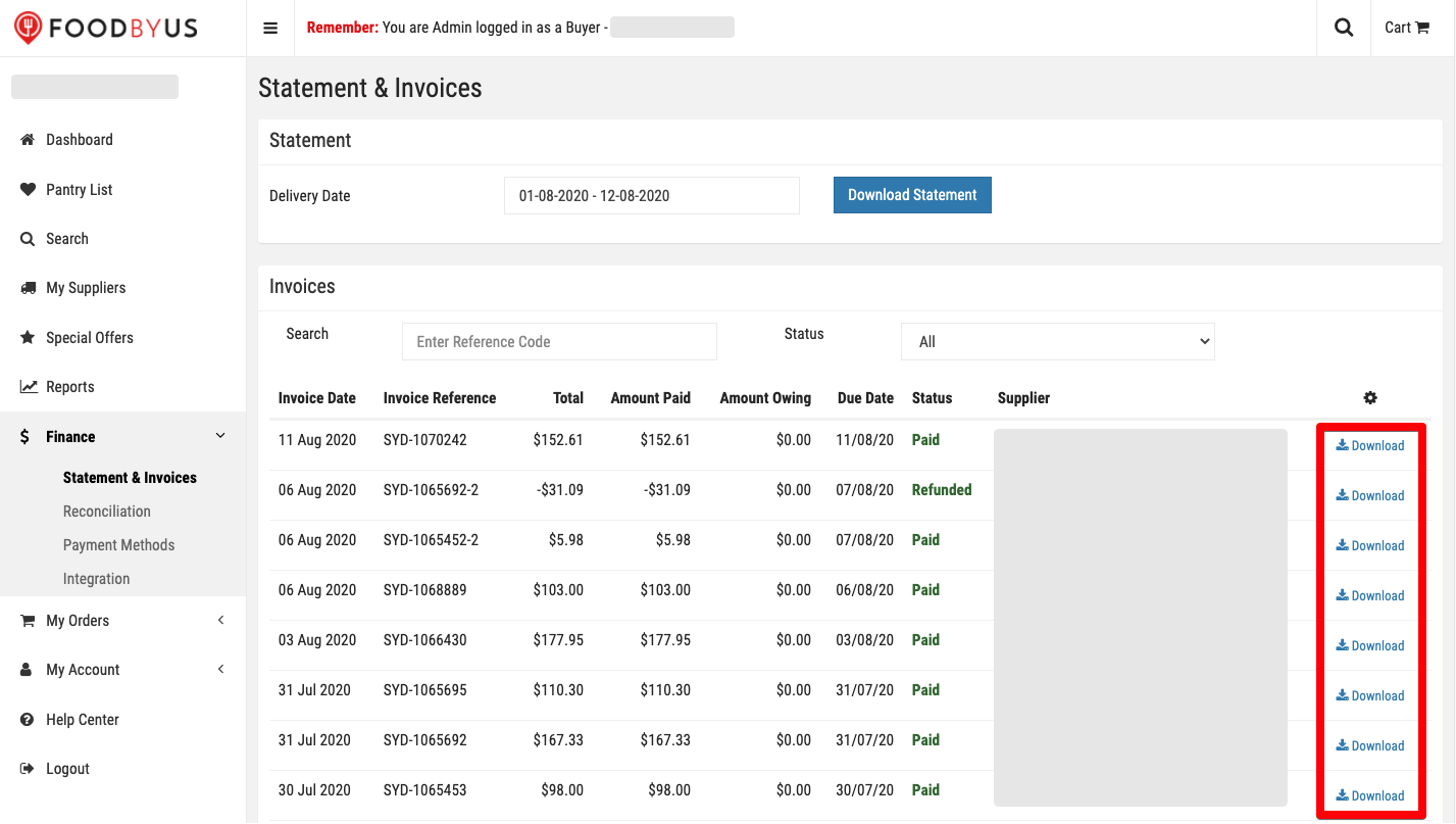 FoodByUs_dashboard_statement_and_invoices_download_statement_one_at_a_time