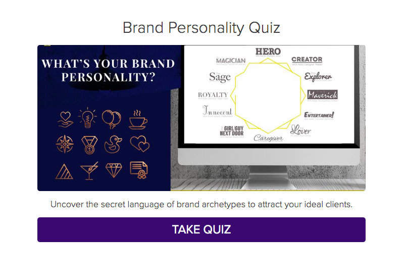 brand personality quiz cover with icons