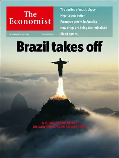 "Capa The Economist com os dizeres: ""Brazil takes off""."