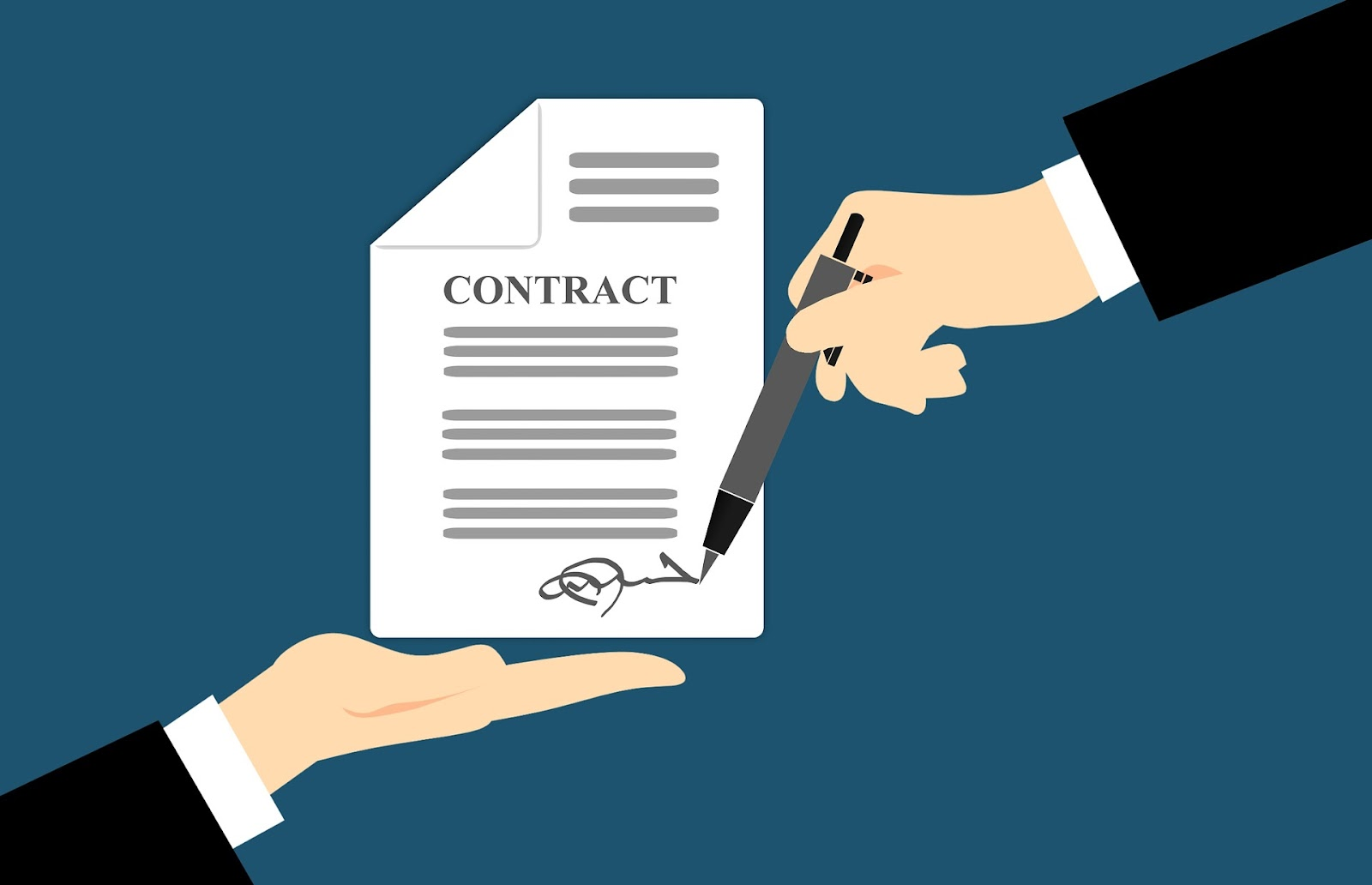 contract with client's signature
