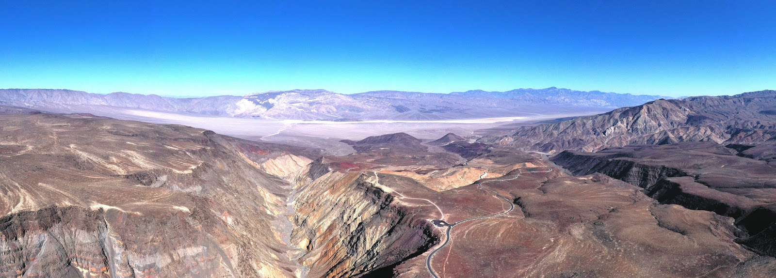 Cycling Panamint Grade - drone photo of father crowley overlook and colorful mountains