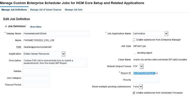 Creating A Parameterized Ess Job In Oracle Hcm Cloud Application