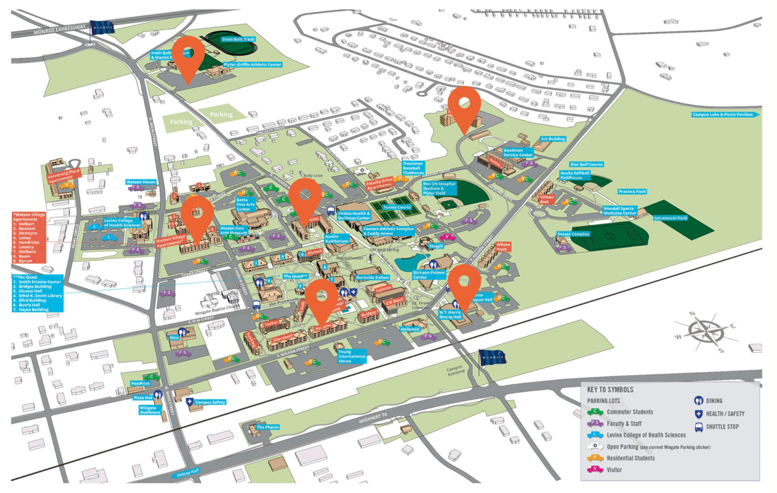 COVID-19 Entry Testing Locations Map of Wingate University