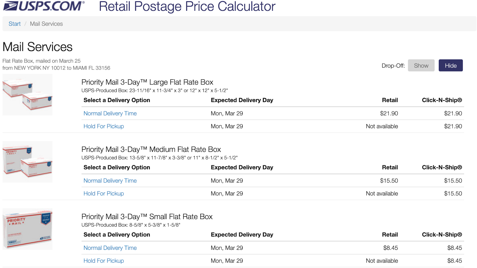 USPS Retail Postage Price Calculator