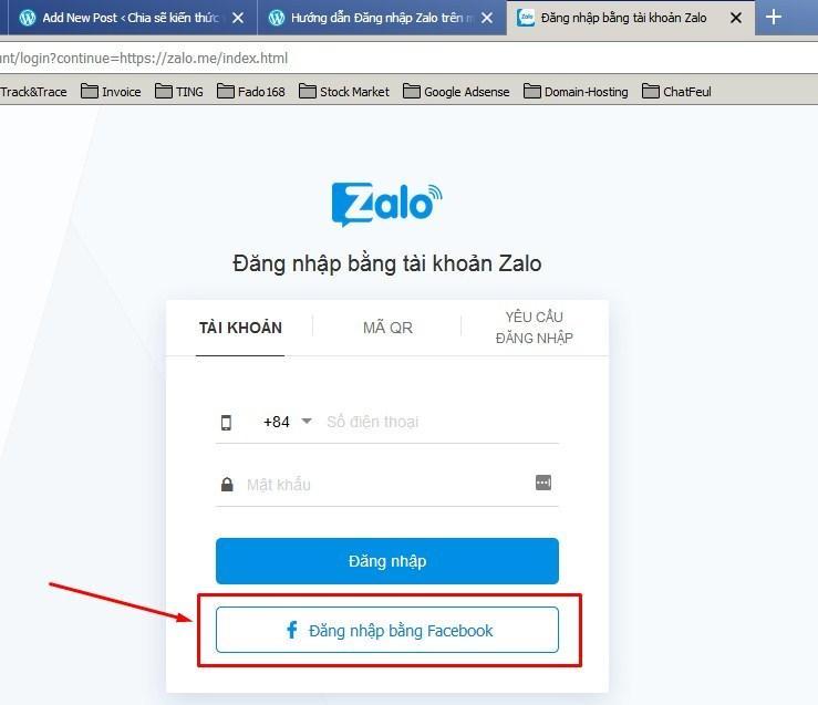 Đăng nhập zalo web bằng facebook