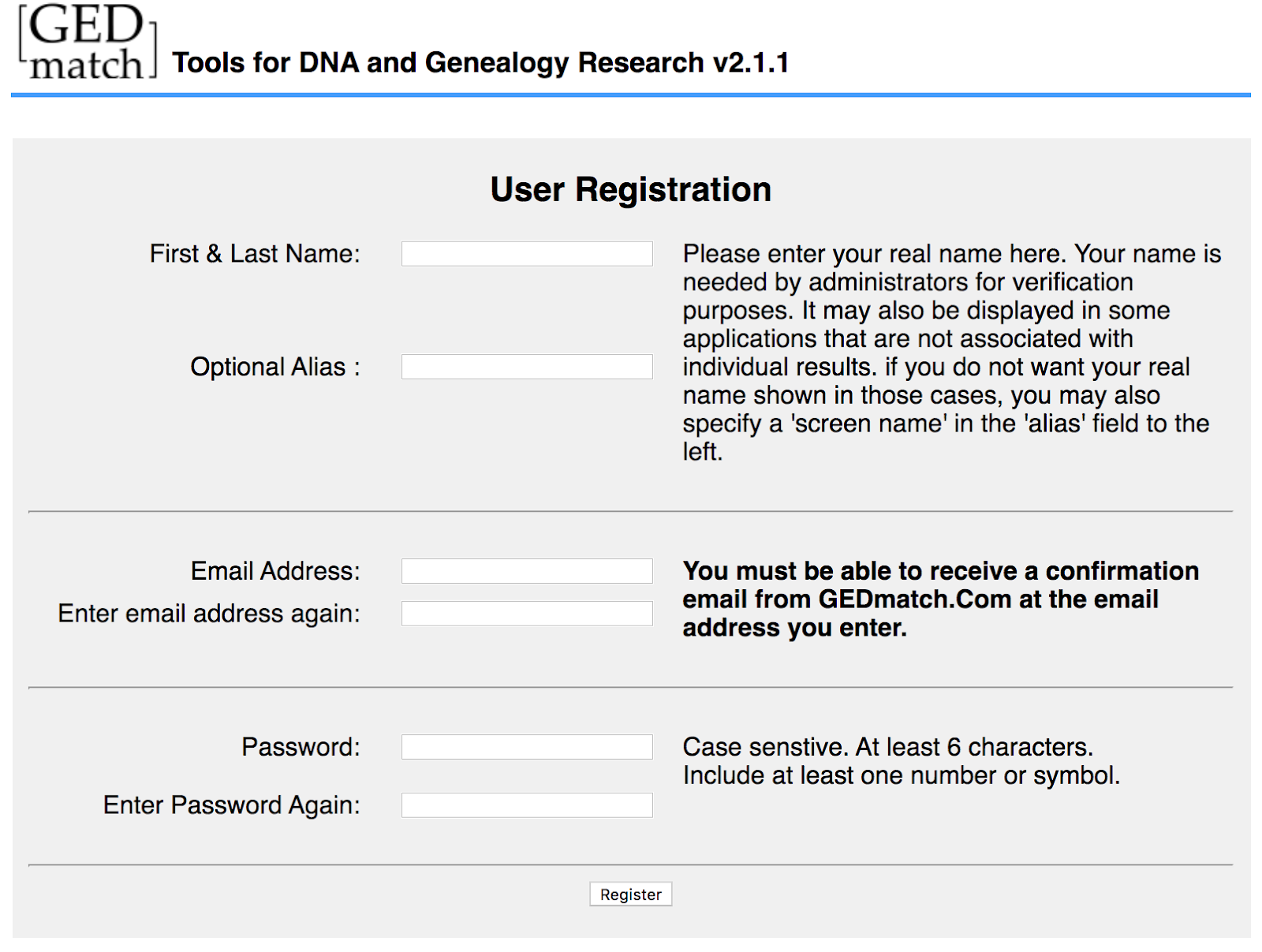 The GEDmatch user registration page requires an email that will be viewable by other users.