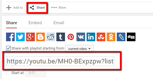 Copy the video URL using the share option in Youtube