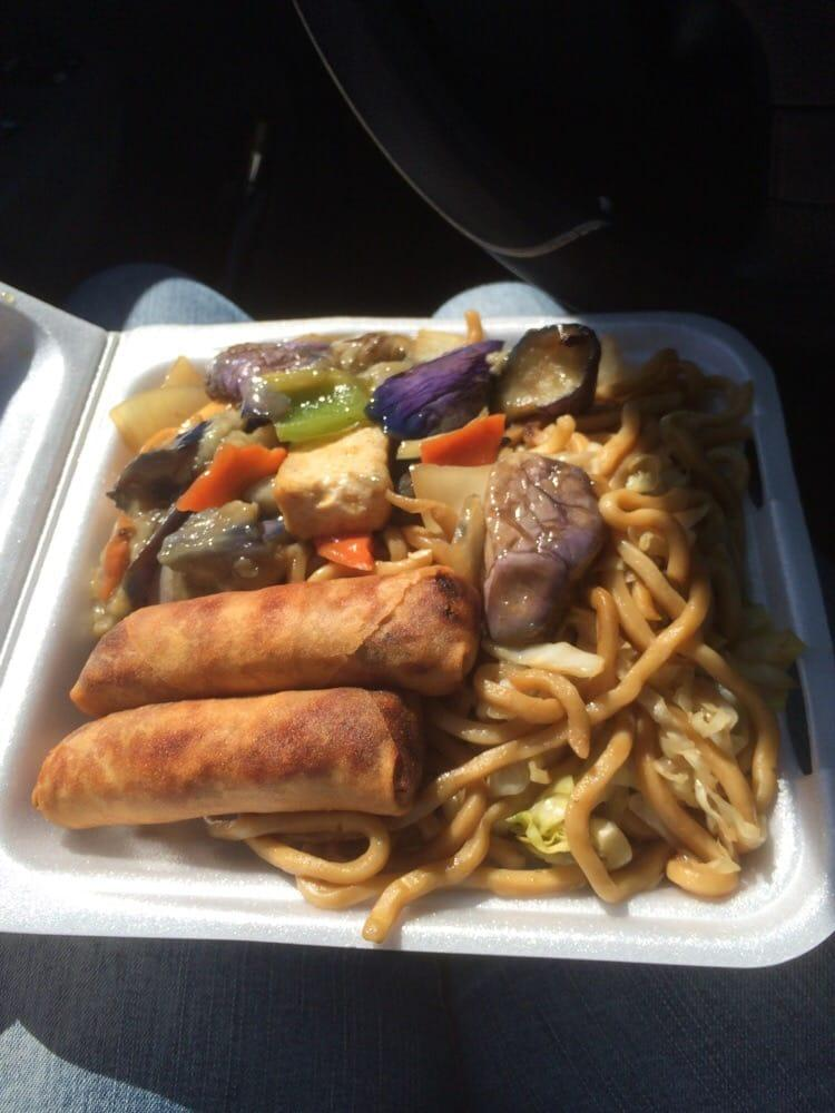 Photo of China Bowl Restaurant - Castro Valley, CA, United States. Chow mein, eggplant and eggrolls
