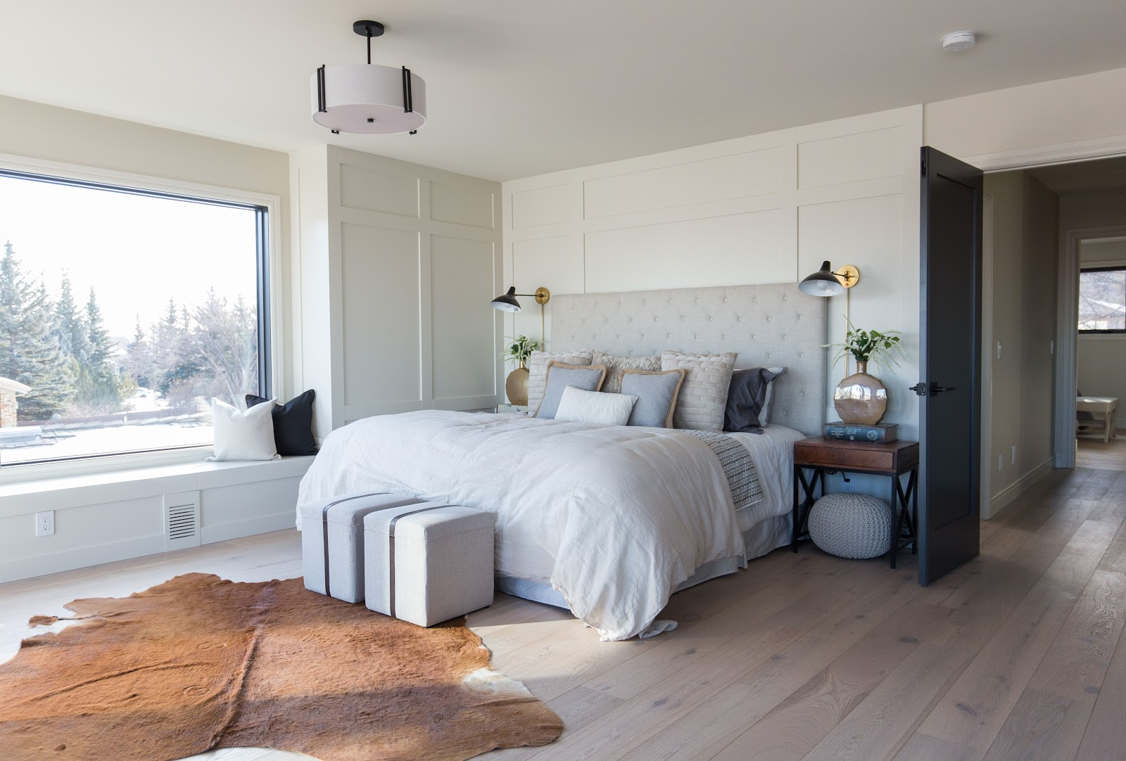 Calgary interior design modern traditional cosy meets elegant master bedroom with millwork