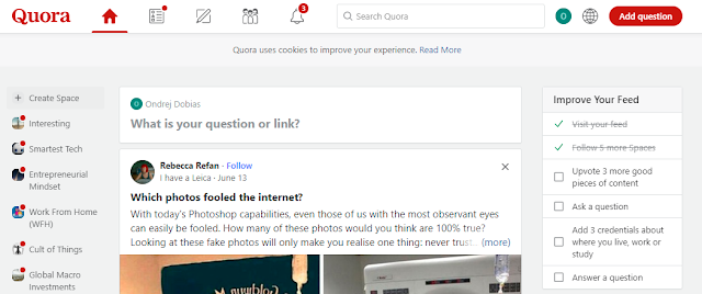 Quora uses an onboarding checklist to ensure that returning users can seamlessly continue in the onboarding process