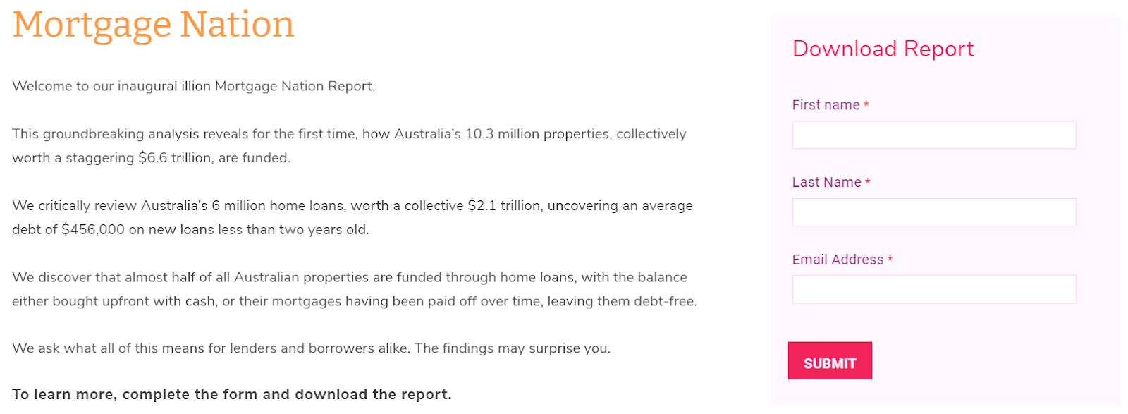 optin offering Mortgage Nation report download