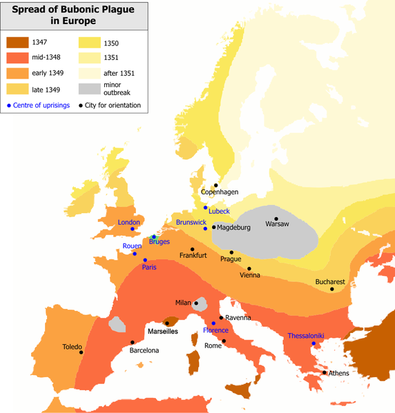 Map charting the spread of the Plague from southern to northern Europe in just three years.