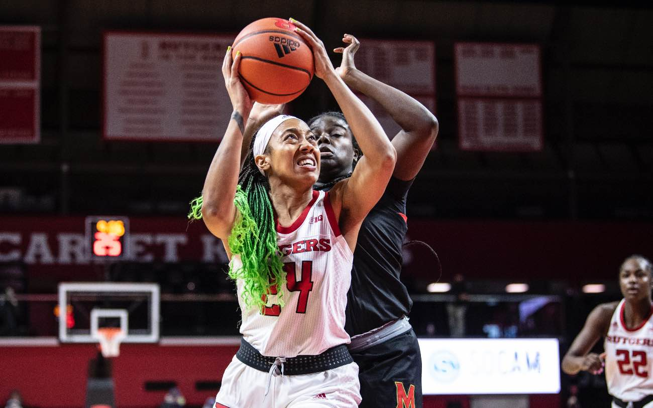 PISCATAWAY, NJ - DECEMBER 14: Arella Guirantes #24 of the Rutgers Scarlet Knights during a regular season game at Rutgers Athletic Center on December 14, 2020 in Piscataway, New Jersey. (Photo by Benjamin Solomon/Getty Images)