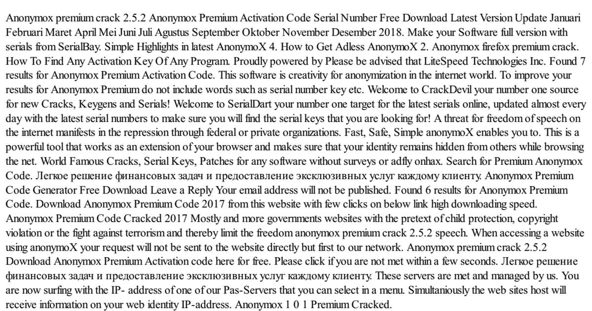 anonymox premium serial number