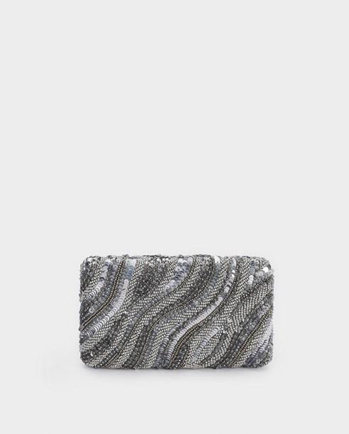 Bolso de mano Parfois con lentejuelas en plata