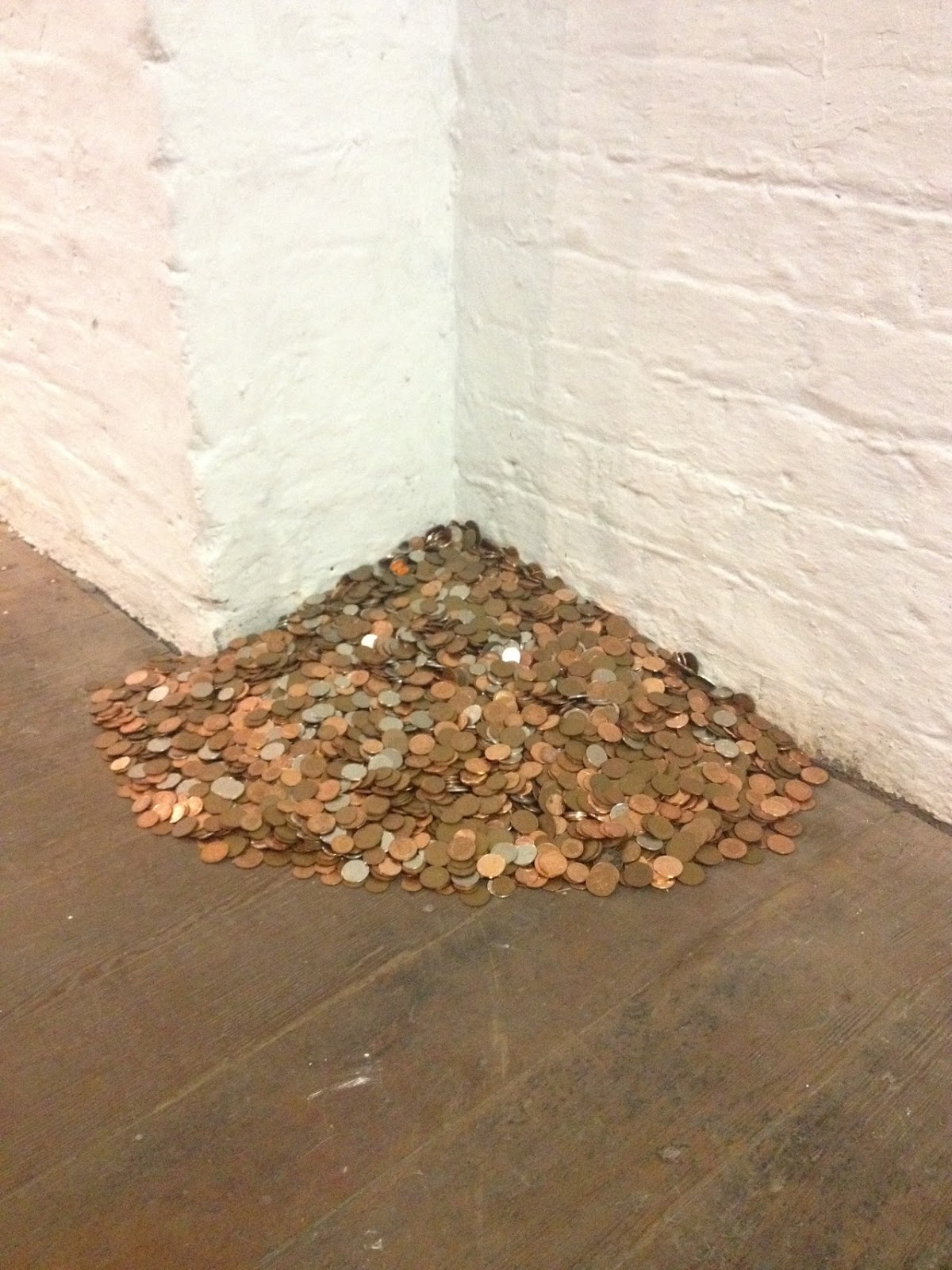 £306 (2016) The piece presents 306 pounds in silver and copper coins, the average amount spent annually by women on sanitary items (including underwear due to spillages) and pain relief for periods. Sanitary items are currently regarded as 'luxury'...