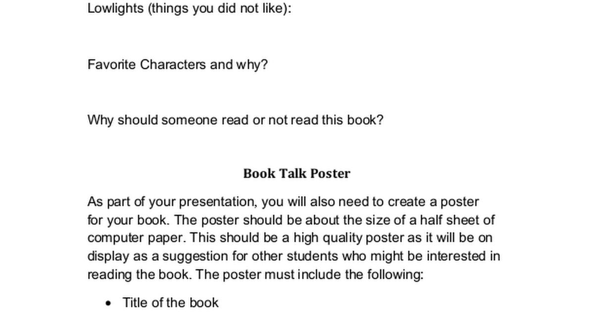 book talk template docx google drive