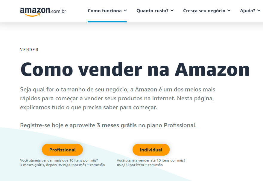 existem dois planos para quem quer vender na Amazon