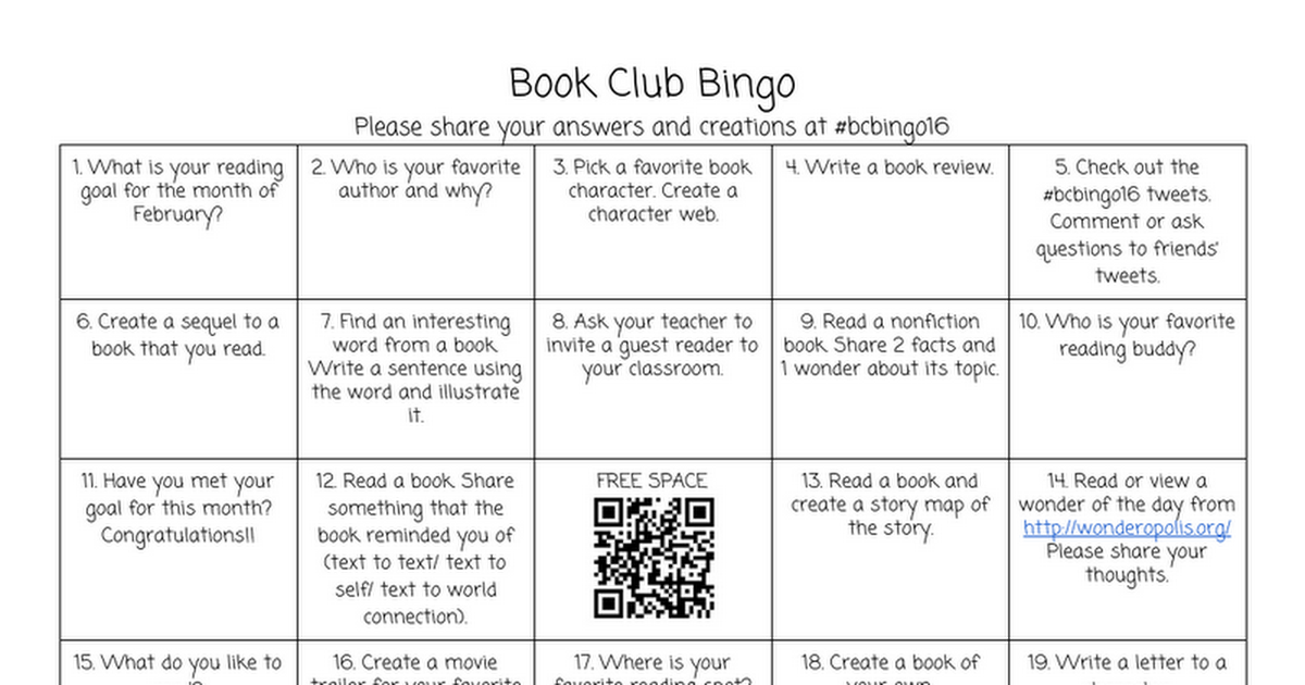 Book Club Bingo Google Docs