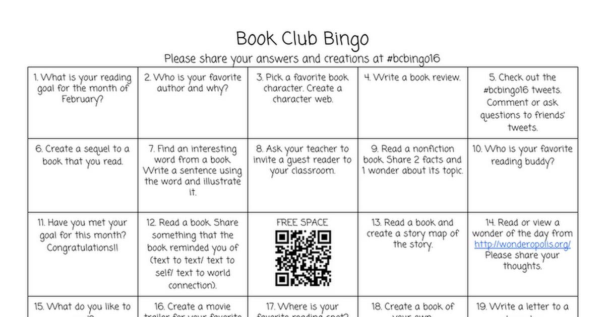 Book Club Bingo  Google Docs