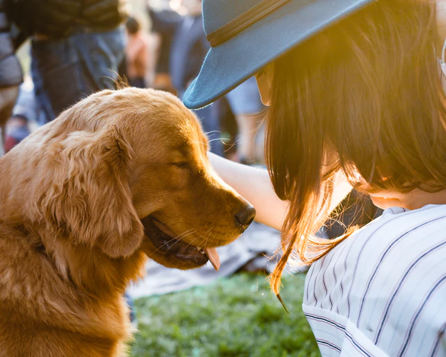 Woman sharing gaze with puppy