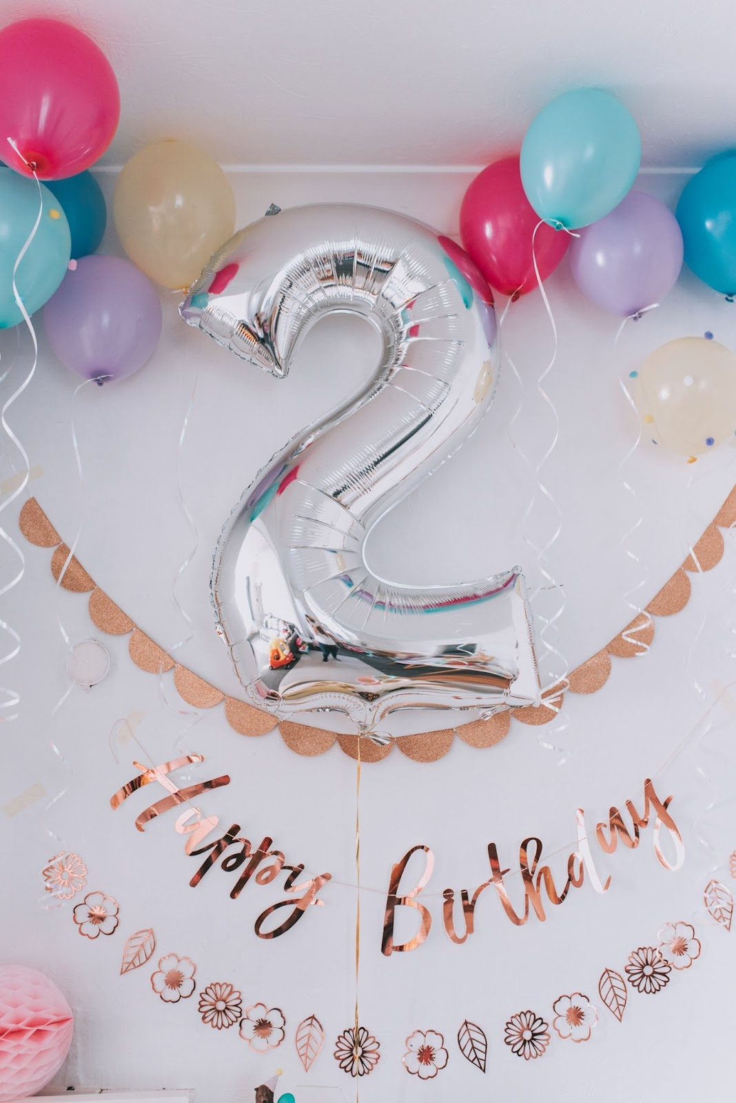 bear and rose gold themed birthday party 2 helium balloon
