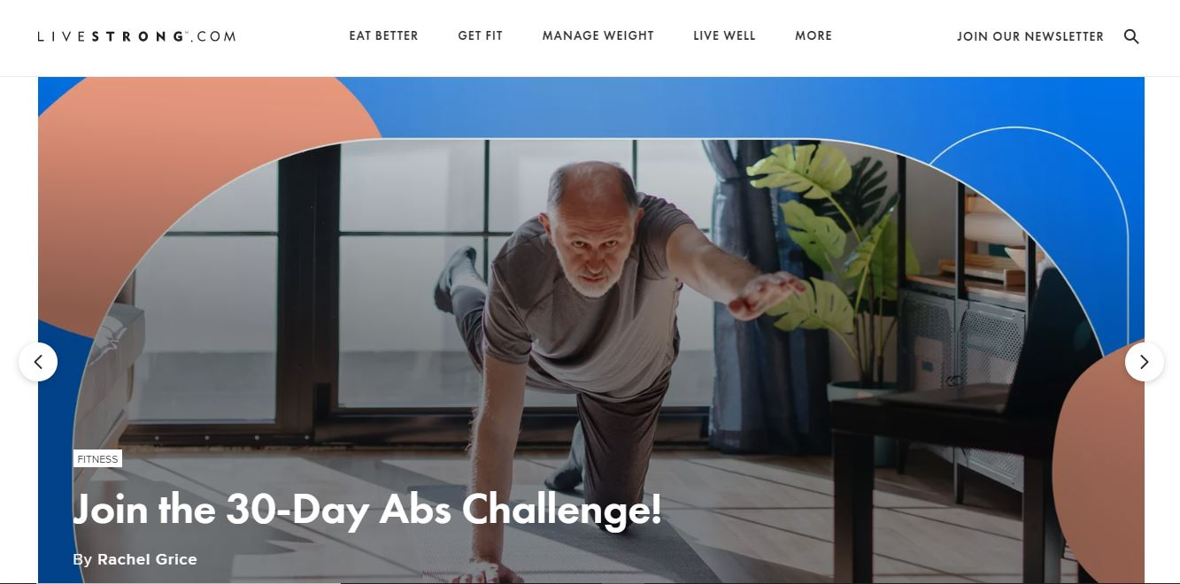 Livestrong – a health and wellness website example.